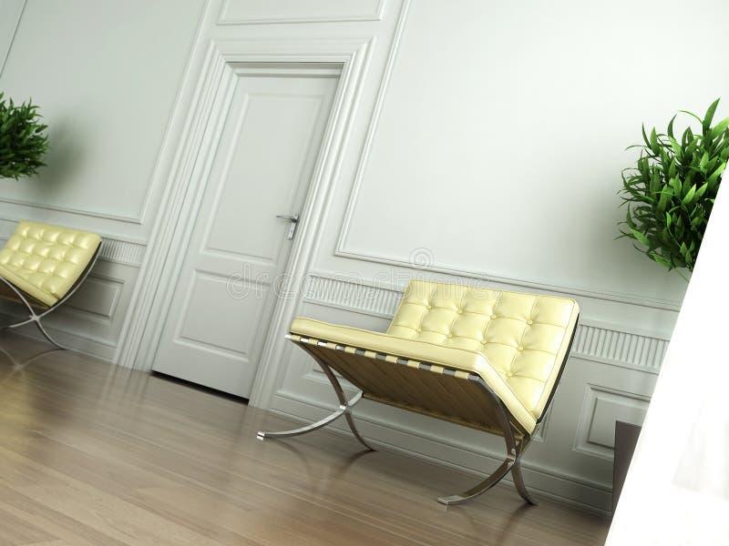 Classic white interior tilted vector illustration