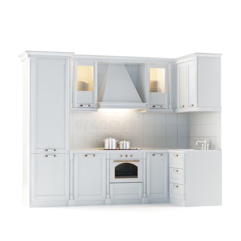White Kitchen Cabinets In Stock: Classic White Kitchen Cabinet (Isolated On White) Stock