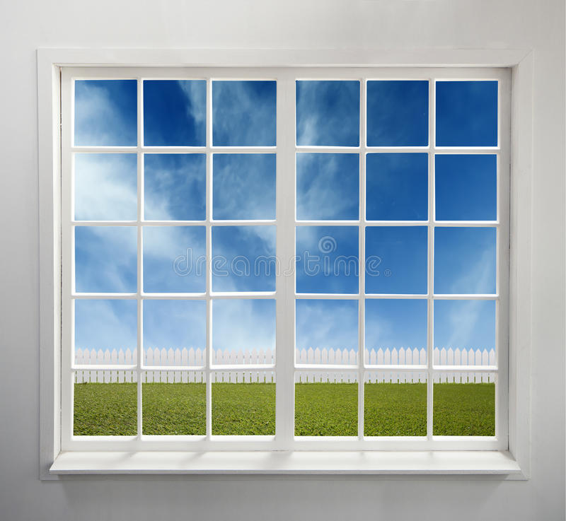 Classic white window with a view royalty free stock images