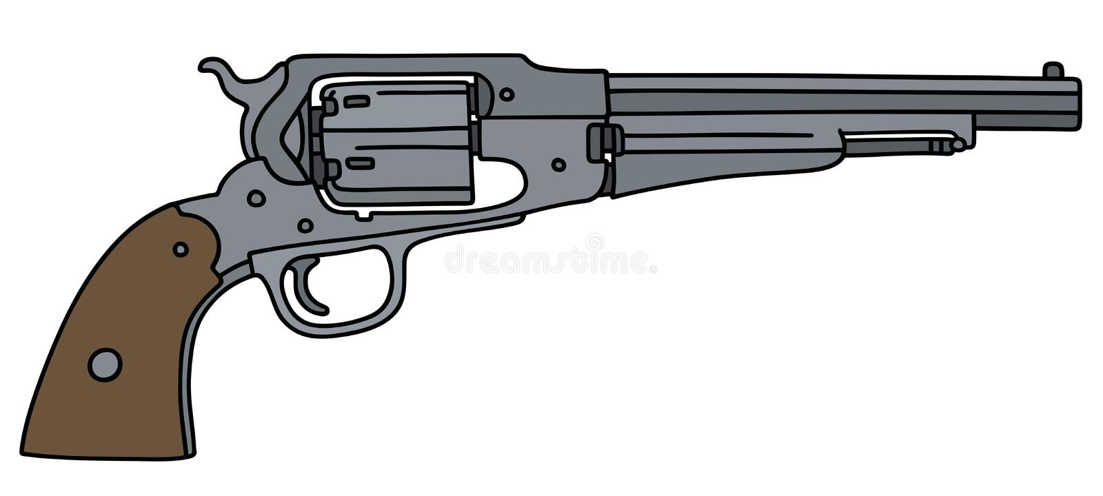 Classic wild west revolver. Hand drawing of a classic american wild west revolver stock illustration