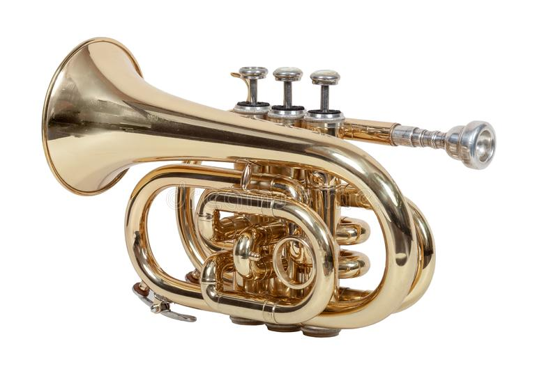 Classic wind musical instrument cornet isolated on white background close-up stock photos
