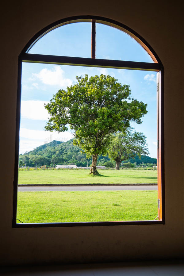 Classic Window Frame See Through Natural View Stock Photo - Image of ...