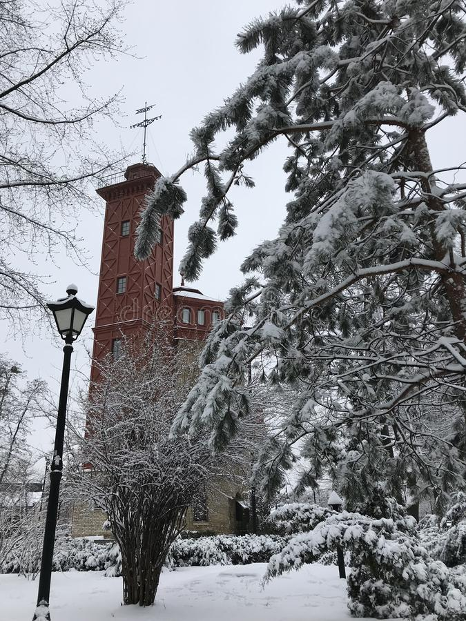 A classic winter view of Kyiv`s Khreshchaty Park - UKRAINE royalty free stock photos