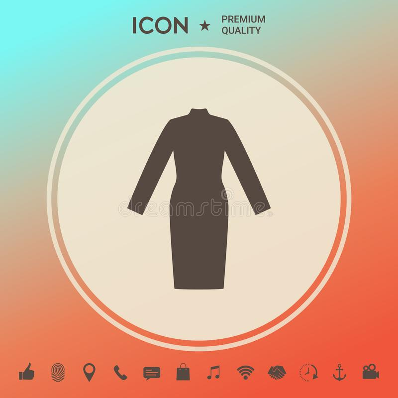 Classic woman dress with long sleeves the silhouette. royalty free illustration