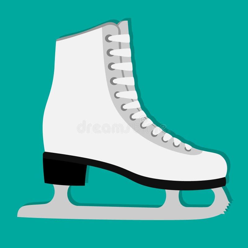 Classic woman s figure skates icon, illustration, isolated. White ice skates. royalty free illustration
