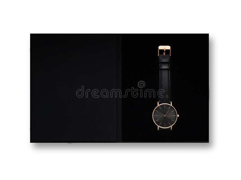 Classic women gold watch black dial, leather strap, isolate on white background stock photos