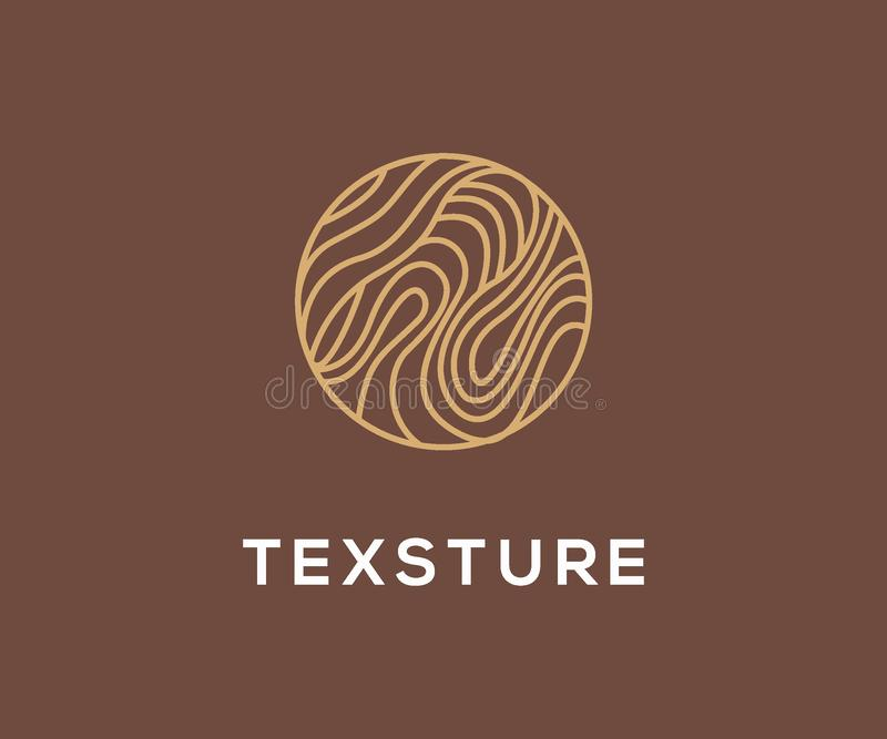 Classic Wood Texture logo design concept with line art style. Wood texture logo royalty free illustration