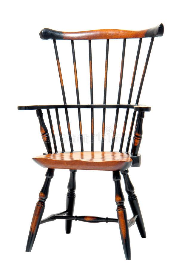 Classic Wood Windsor Armchair Miniature Sample stock photo