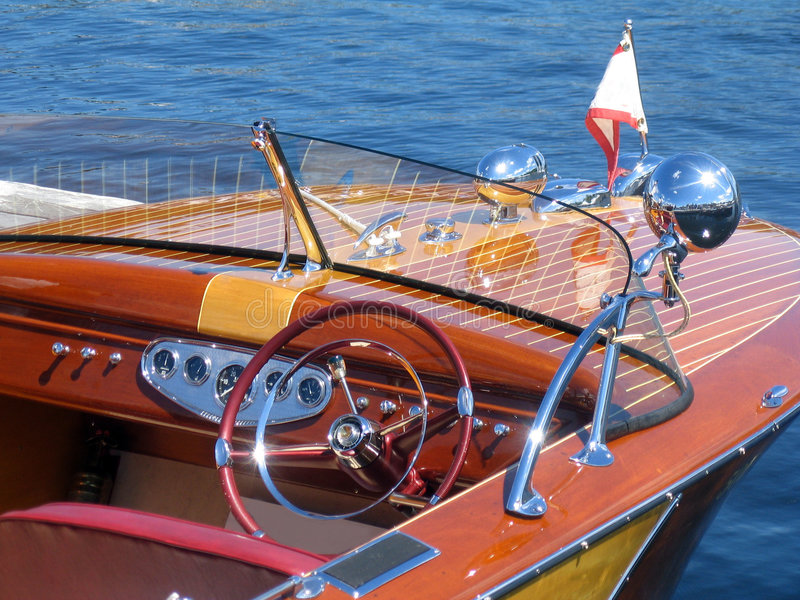 Classic wooden boat royalty free stock photo