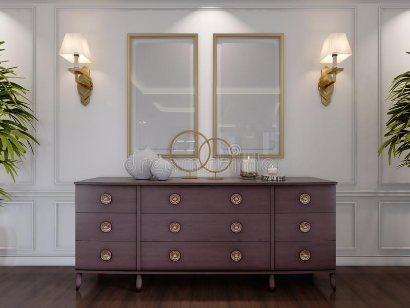 Classic wooden chest of drawers with sliding cabinets and empty paintings and sconces on the wall in the dining room. 3d rendering stock illustration