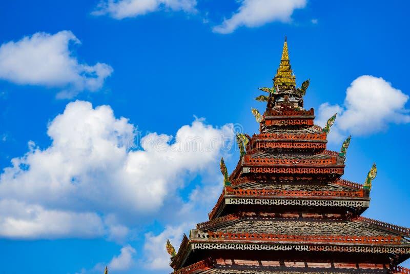 Classic Wooden `Nantaram temple` at Phayao province, North of Thailand royalty free stock photo