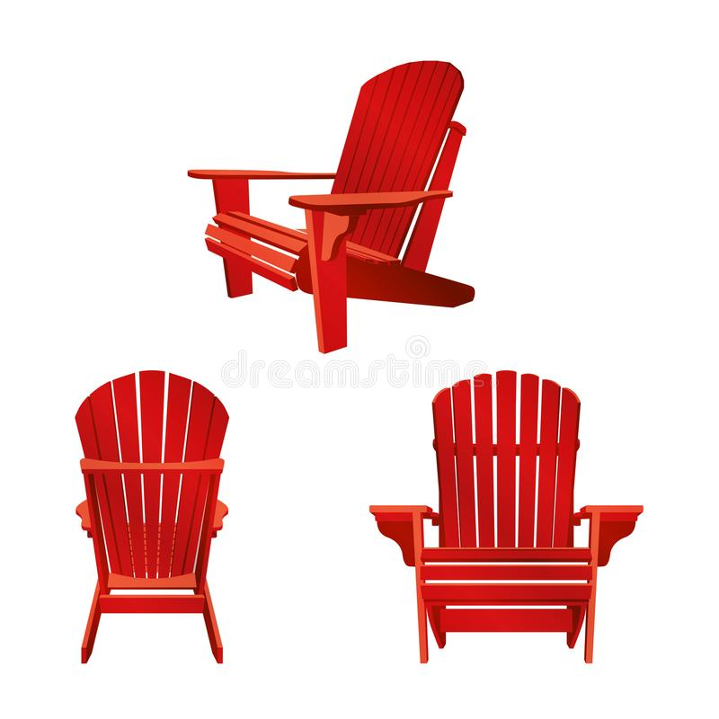 Classic wooden outdoor chair painted in red color. Garden furniture set in adirondack style vector illustration