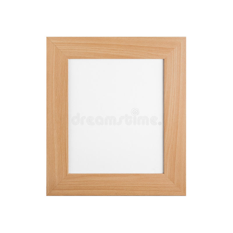 Classic wooden picture frame with blank canvas isolated on white stock image