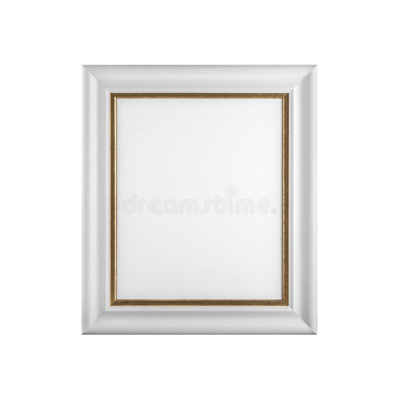 Classic wooden picture frame with blank canvas isolated on white stock photography