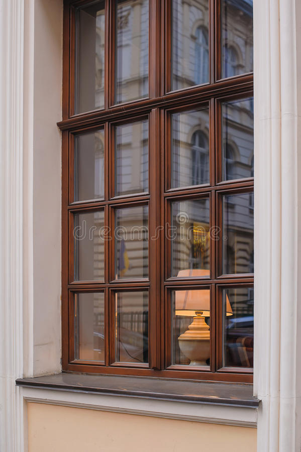 Free Classic Wooden Window With Lamp Royalty Free Stock Photography - 50902957