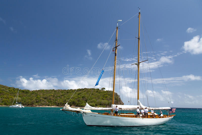 Classic yacht in Freeman's Bay stock photography