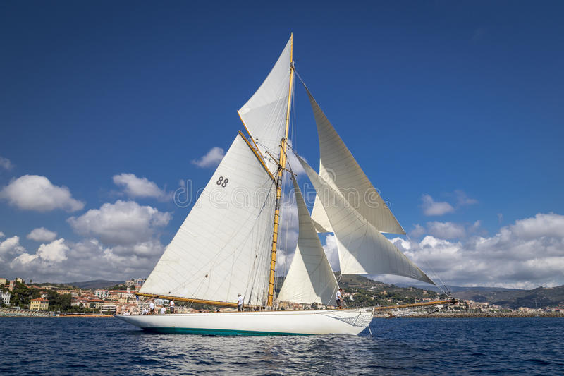 Classic Yacht Regatta - Gaff cutter MOONBEAM III. Shot of gaff cutter named MOONBEAM III at Panerai Classic Yacht Challenge, Vele d'Epoca di Imperia - 10th-14th royalty free stock photography
