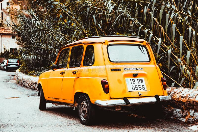 Classic Yellow Car On Side Of Road At Day Free Public Domain Cc0 Image