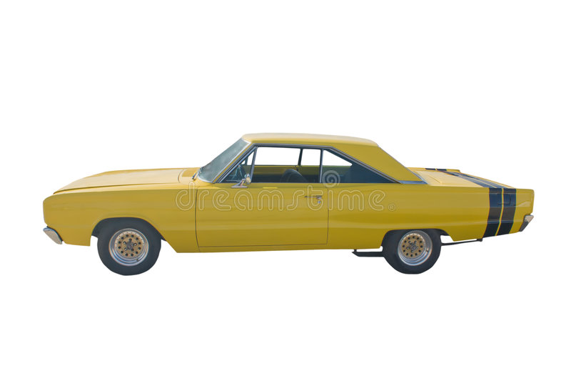 Classic yellow hotrod stock image