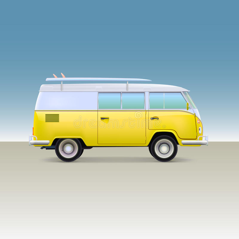 Classic yellow minivan with surfboard. Vintage bus. Side view, vector illustration royalty free illustration