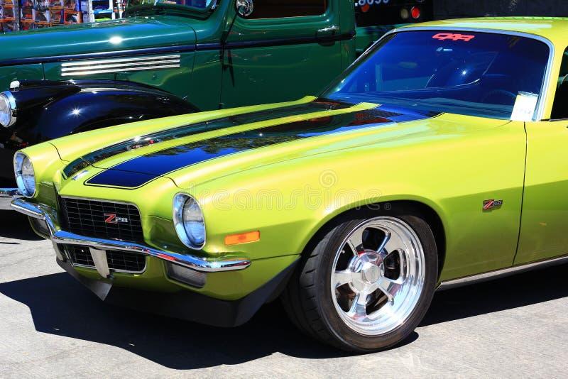 Classic Yellow z28 car at the Good Guys Car show stock photos
