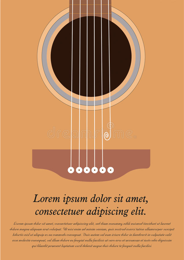Classical acoustic guitar. Musical string instrument collection. Vector illustration eps 8 in flat style. For your design and business stock illustration