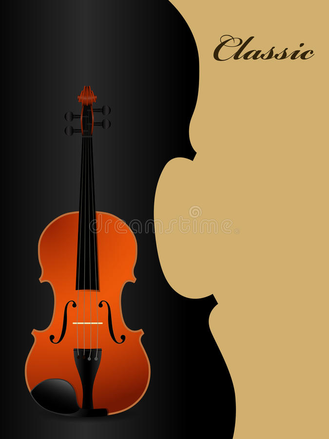 Classical acoustic violin on black background. Music instrument. Vector illustration royalty free illustration