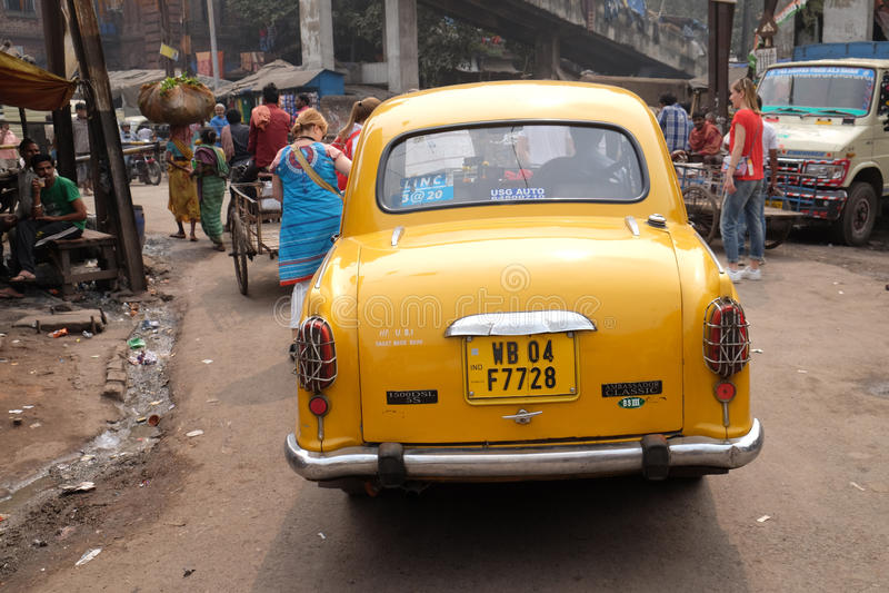 The classical Ambassador cab in Kolkata royalty free stock photography
