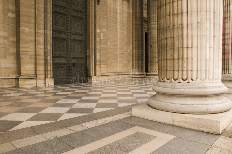 Classical antic architecture. Classical antic columns at the front of the pantheon in Paris stock photos
