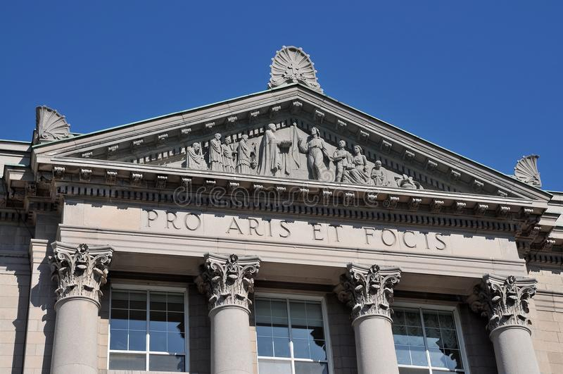 Classical architecture colonial, pro aris et focis. Front St-Hyacinthe Seminary, Classical architecture in colonial style, pro aris et focis stock photos