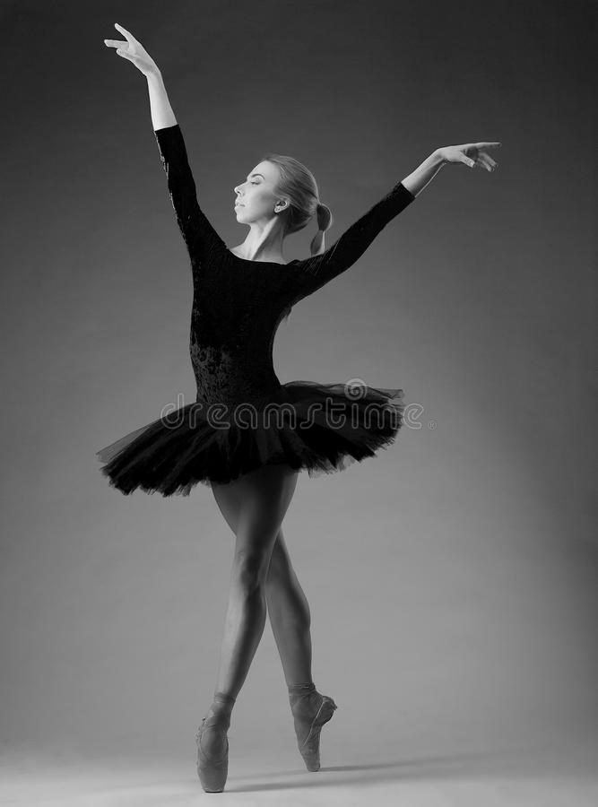 Classical ballet art in black and white. Ballet art expression and movement stock images