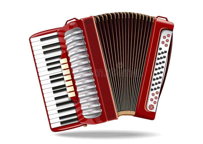 Classical bayan, accordion, harmonic, jews-harp. Musical instrument. Realistic vector illustration isolated on white background royalty free illustration