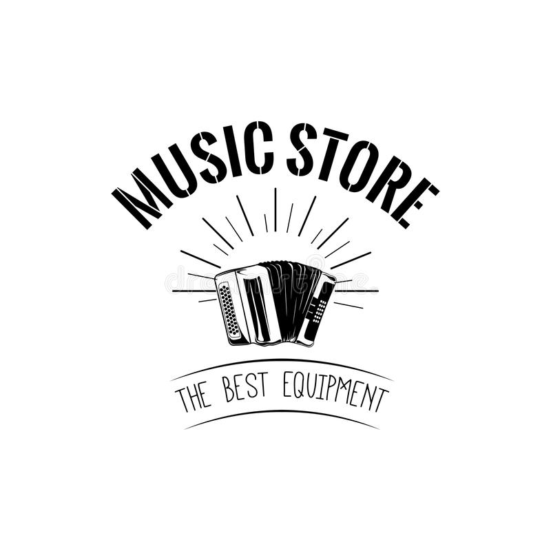 Classical bayan accordion. usic store label, music shop logo. Musical instrument icon. Vector. Classical bayan accordion. usic store label, music shop logo royalty free illustration