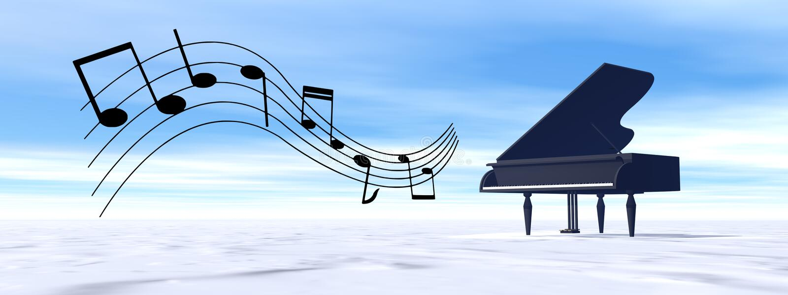 Classical black grand piano playing melody in the winter nature - 3D render royalty free illustration