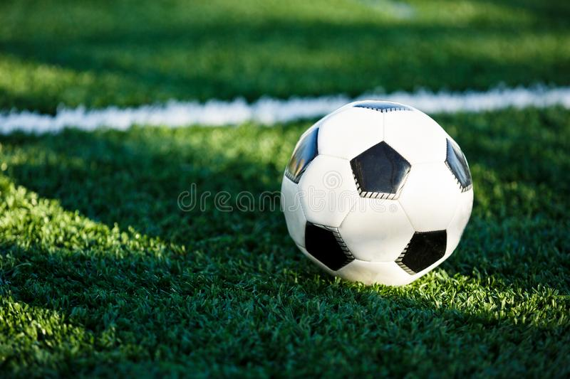 Classical black and white football ball on the green grass of the field. Soccer game, training, hobby concept. With copy space stock image