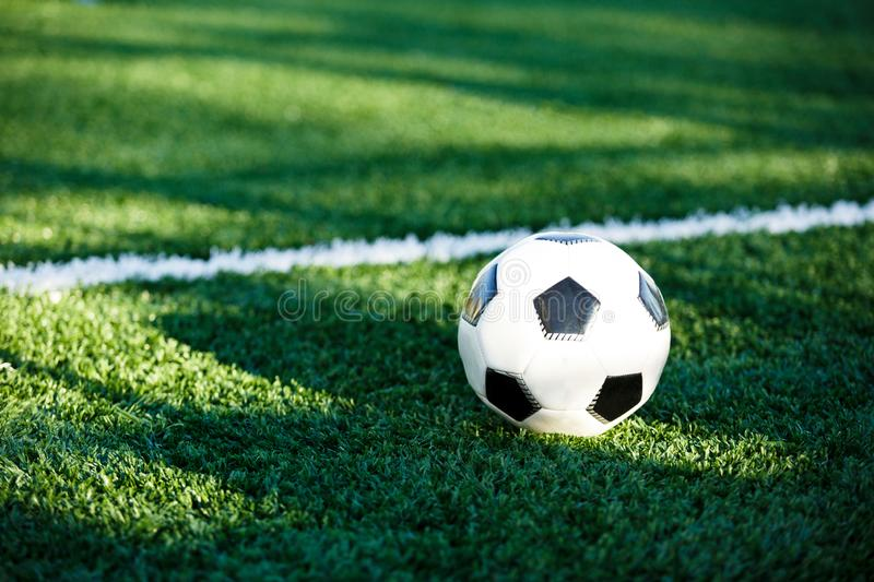 Classical black and white football ball on the green grass of the field. Soccer game, training, hobby concept. With copy space royalty free stock images