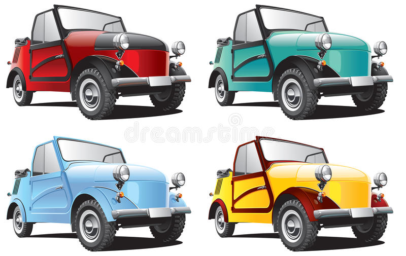 Vintage Soviet microcar. Detailed image of vintage Soviet microcar, isolated on white background, executed in four color variants. File contains gradients. No stock illustration