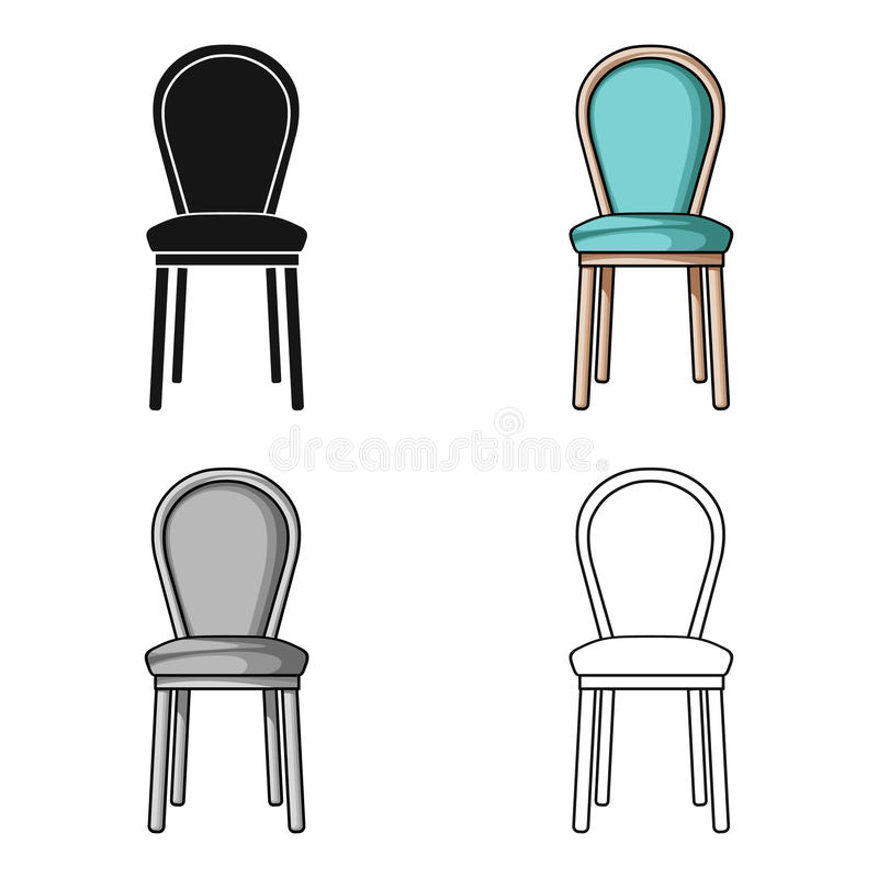 Classical chair icon in cartoon style isolated on white background. Furniture and home interior symbol stock vector. Classical chair icon in cartoon style royalty free illustration
