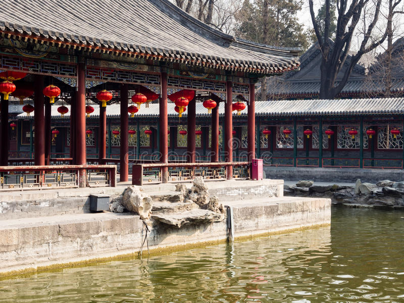 Classical Chinese garden with pavilion stock photography