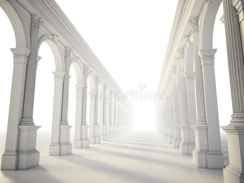 Classical colonnade. With arcades and Corinthian columns vector illustration