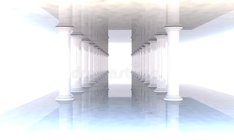 Classical colonnade with arcades and columns. The way to paradise vector illustration