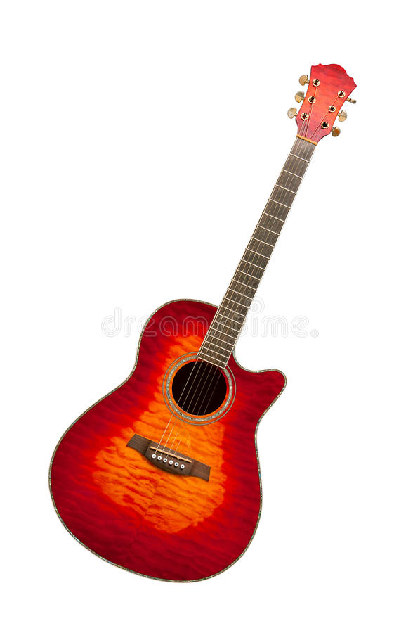Classical curly maple acoustic guitar stock photo