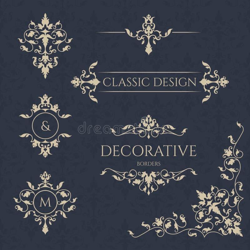 Classical elements. Decorative vector monogram and border. stock illustration