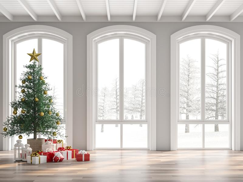 Classical empty room decorate with christmas tree 3d render royalty free illustration