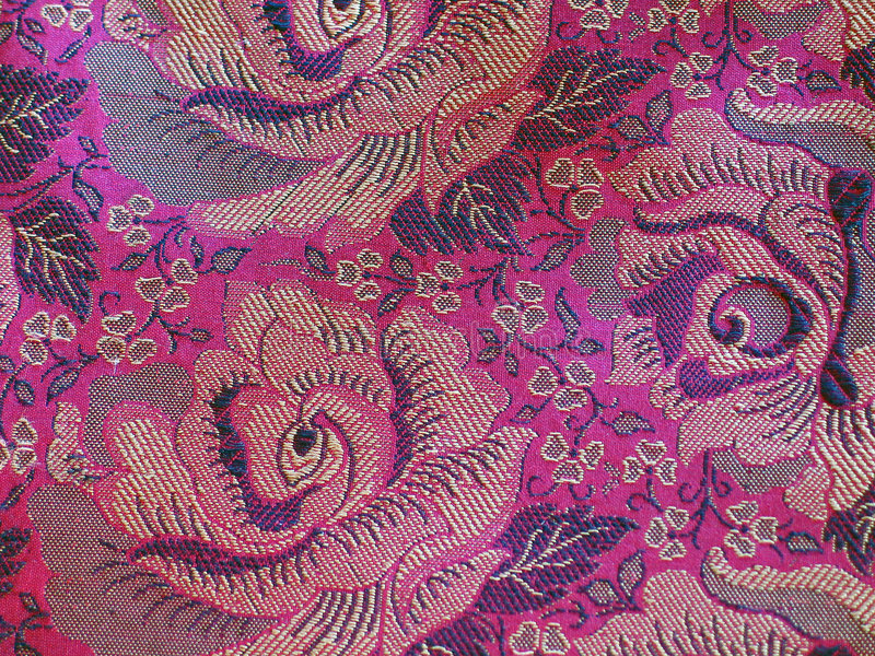 Classical Fabric with Pattern. High Resolution Embossed Classical Fabric with Colorful Floral Pattern stock photo