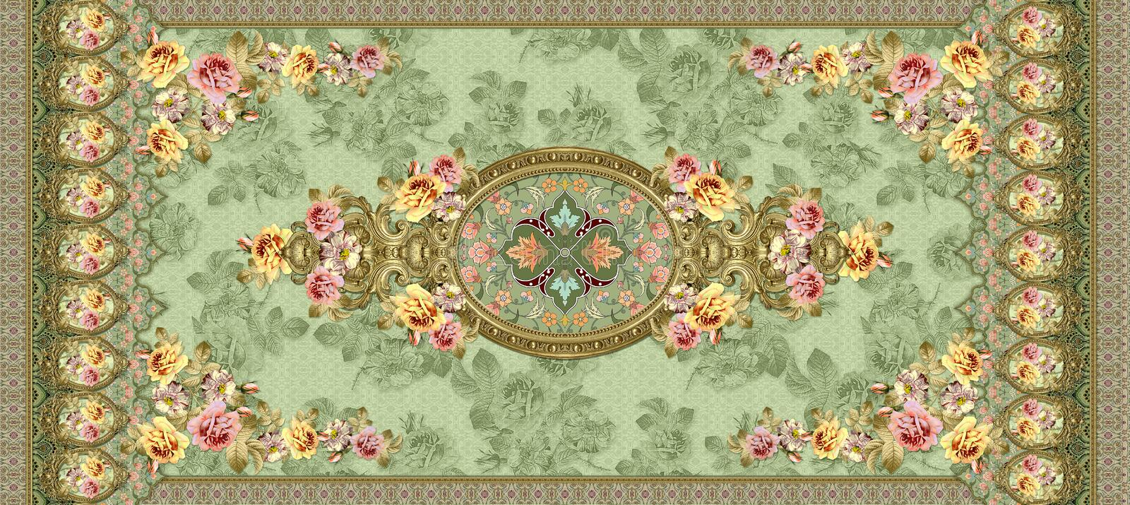 Classical flower ornament with green texture background vector illustration