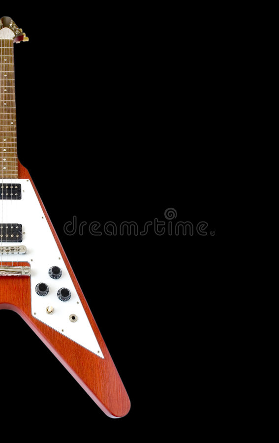 Classical Flying V Guitar (clipping path included) royalty free stock photo