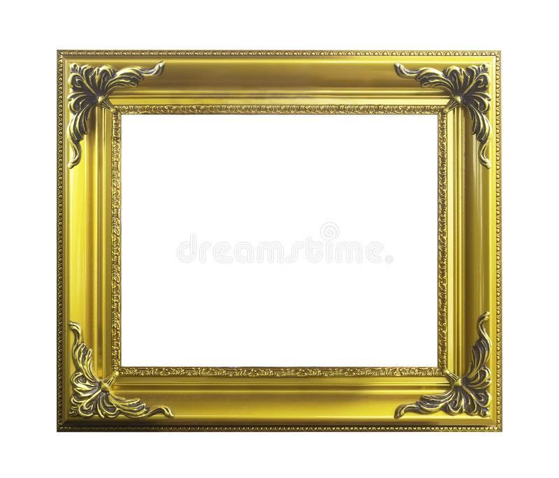Classical golden wooden frame isolated royalty free stock photography