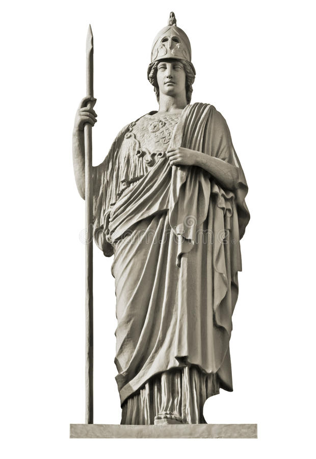 Classical Greek goddess Athena statue. Isolated on white stock images