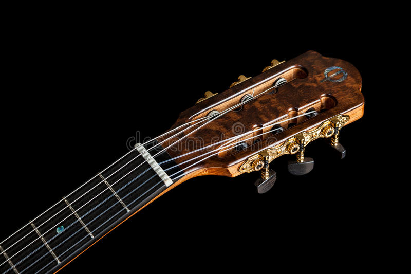 Classical guitar acoustic made by luthier Luciano Queiroz. Brazil royalty free stock photos